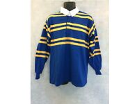 "Mens Rugby Stripe Long Sleeve Polo Shirt Top Size 44"" Chest Brand new #4683"