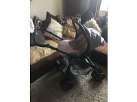 Silver Cross Linear Freeway Pram / Pushchair / Travel System / Car seat in Sugared Almonds