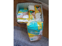 Nappies x141, Newborn size 1 & 2 Pampers and Mamia