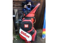 WILSON FAT SHAFT GOLF CLUBS, BAG AND TROLLEY