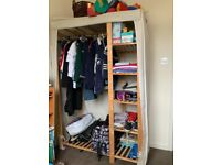 Canvas and wood double wardrobe with all parts and original instructions