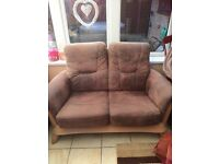 Brown wood and suede 2 seater sofa