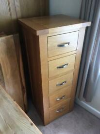 Solid oak tall boy/chest of drawers