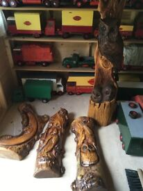 Wood carved animal sculptures