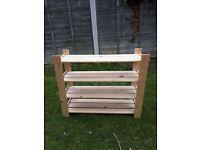 Soft Wood Small 4 Shelf Natural Wood Unit