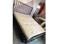 King size bed frame and mattress with under bed storage