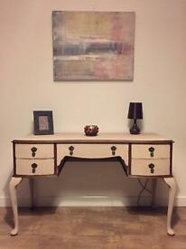 Unique art work fully refurbished dressing table and chair in chalk butterscotch/cream finish