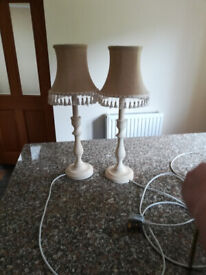 Two Laura Ashley bedroom lamps with lampshades