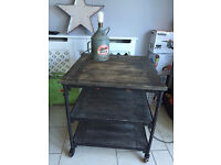 HOMESENSE LARGE RUSTIC VINTAGE STYLE TABLE TROLLY WITH SHELVES - FURNITURE
