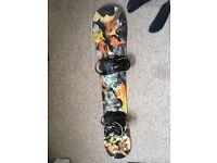Girls Endeavor boyfriend snowboard and raiden bindings