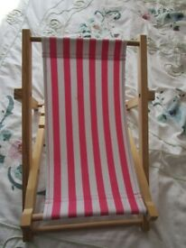 Build-A-Bear Wooden Framed Folding Pink & White Stripped Beach Deck Chair