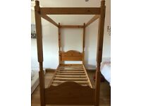 Single Pine Four Poster Bed