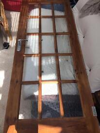 Solid wood door, glass panels standard size