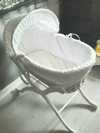 Moses Basket White Wicker with stand