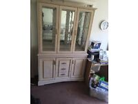 set of wooden furniture double glass cabinet a single glass cabinet and a side board
