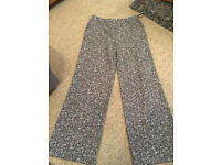 George navy & white patterned trousers - Size 12. £5