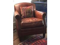 Rose and Grey Vintage leather armchair