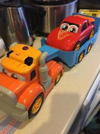 Play truck and trailer with sports car lights and sounds