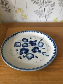 Genuine Gzhel porcelain cake plate