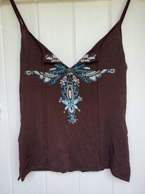 Karen Millen Boho Embroidered & Beaded Top - Size 10