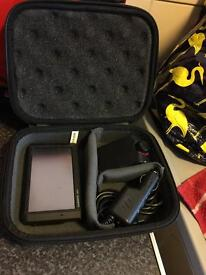 Blue tooth hands free and garmin satnav both which charger and carry case
