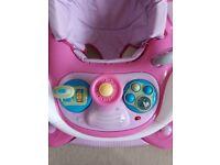 Baby walker & rocker pink car
