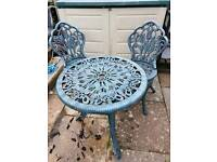 Plastic Garden table and 2 chairs