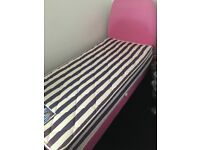 Pink Single Bed with Mattress