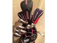 Used Ping + Cobra golf set with Callaway bag and trolley