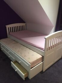 Marks and Spencer white trundle bed. Collection only.