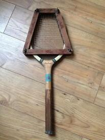 Vintage tennis racquet with press