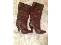 Brown knee boots size 7 new
