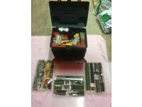 Huge selection of Vintage Meccano + Plano hobbies storage box.