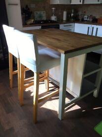 Ikea kitchen island + 3 x bar stools