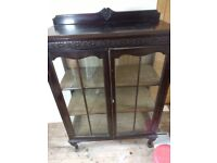 1930's glass fronted oak display cabinet with key in origami condition