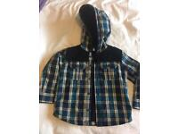 Fleece lined, hooded checked shirt (2-3y)