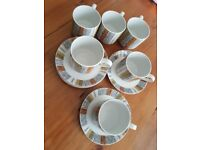 6 Staffordshire Midwinter small coffee cups and saucerzs