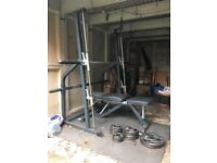 Smith machine weights rack, bench and 55kg weights