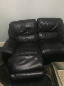 Sofa leather brown recliner 2 seater