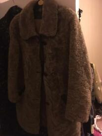 Vintage Brown Curly Sheepskin Shearling Teddy Bear Coat Jacket 10 12 1970s Retro