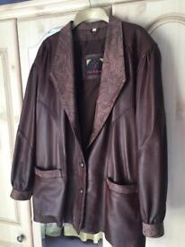 Ladies Chocolate Brown Leather Jacket - (Blazer Style)