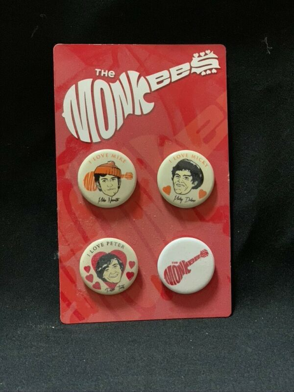 MONKEES SET OF 4 PINS BUTTONS FROM 2012 TOUR I LOVE MICKY PETER MIKE LOGO