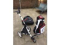 New Golf Motocaddy Push Trolley and Trolley carry bag and umbrella holder