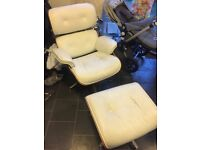 White Leather Chair with Footstool