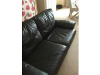 2 seater sofa bed brown leather / leather effect