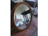 Large Oval Mirror - Light Oak Wood