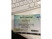 JUSTIN BIEBER BRITISH SUMMER TIME HYDE PARK, LONDON TICKETS - 2NO