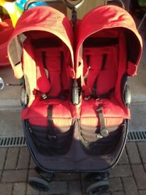 Britax B Agile double buggy and 2x cosy toes