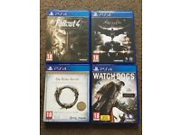 Batman Arkham asylum, fallout 4, watch dogs and elder scrolls online