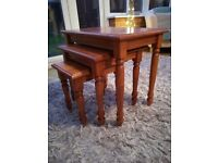 Solid Wood Nesting of Three Tables TV Snack Tables (Antique Pine Effect)